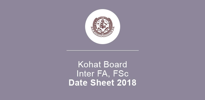 BISE Kohat Inter 11th 12th Annual Date Sheet