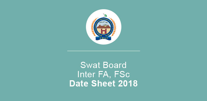 BISE Swat Inter 11th 12th Part 1 & 2 Date Sheet 2019