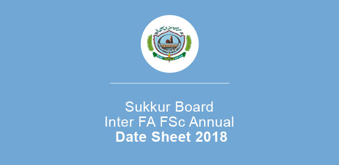 Sukkur Board Inter FA FSc Annual Date Sheet
