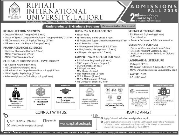 Riphah University Admission Fall 2018
